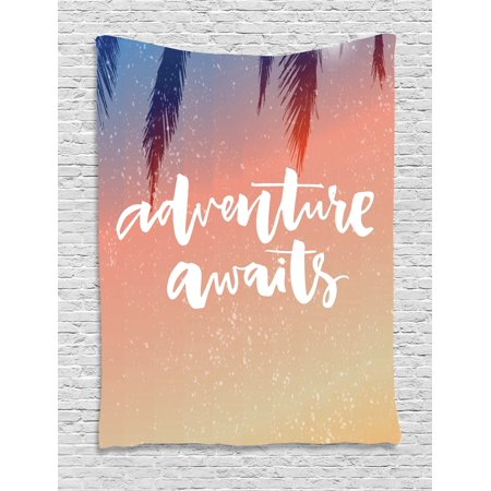 Adventure Hanging (Adventure Tapestry, Artistic Interpretation of Motivational Pictures Adventure Awaits Message Print, Wall Hanging for Bedroom Living Room Dorm Decor, 40W X 60L Inches, Salmon White, by Ambesonne)