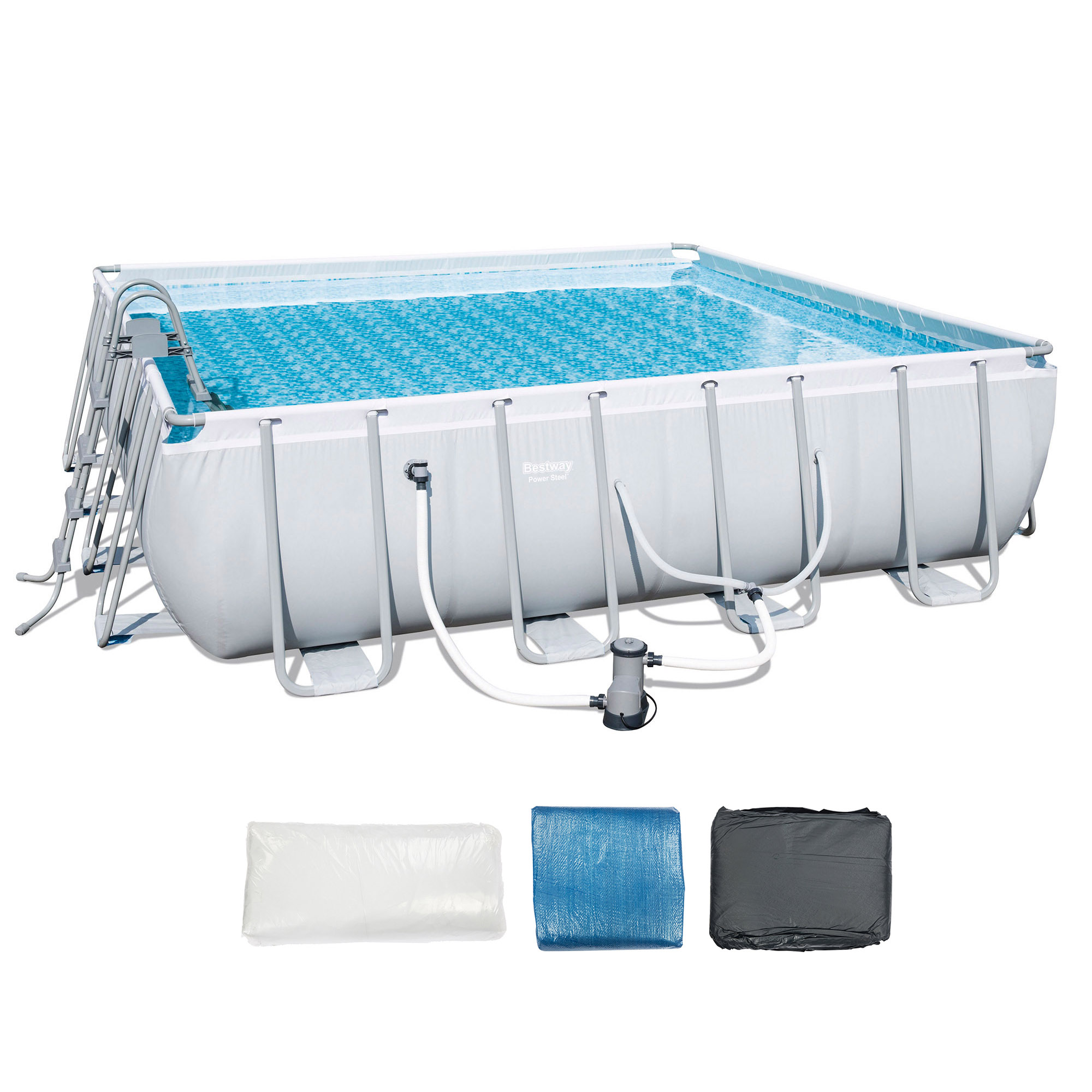 """Bestway 16' x 48"""" Square Frame Above Ground Pool Set with Ladder and Filter Pump by Bestway"""