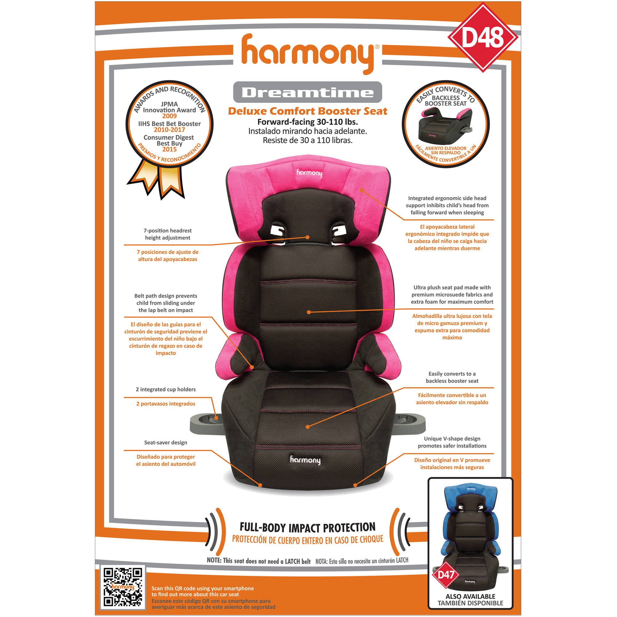 Harmony Juvenile Dreamtime Deluxe Comfort High Back Booster Car Seat Pink