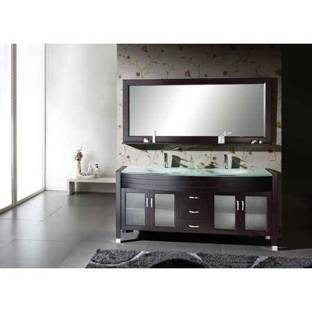 Virtu Usa Md 499 G Es 63  Ava Double Bathroom Vanity With Tempered Glass