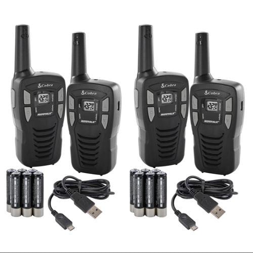 (4) COBRA CXT145 MicroTalk 16 Mile 22 Channel Walkie Talkie 2-Way Radios