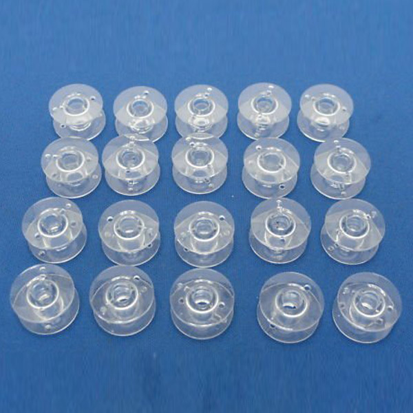 2.1cm Clear Plastic Domestic Sewing Machine Bobbins for Brother /Singer /Toyota /Janome, 20pcs Pack