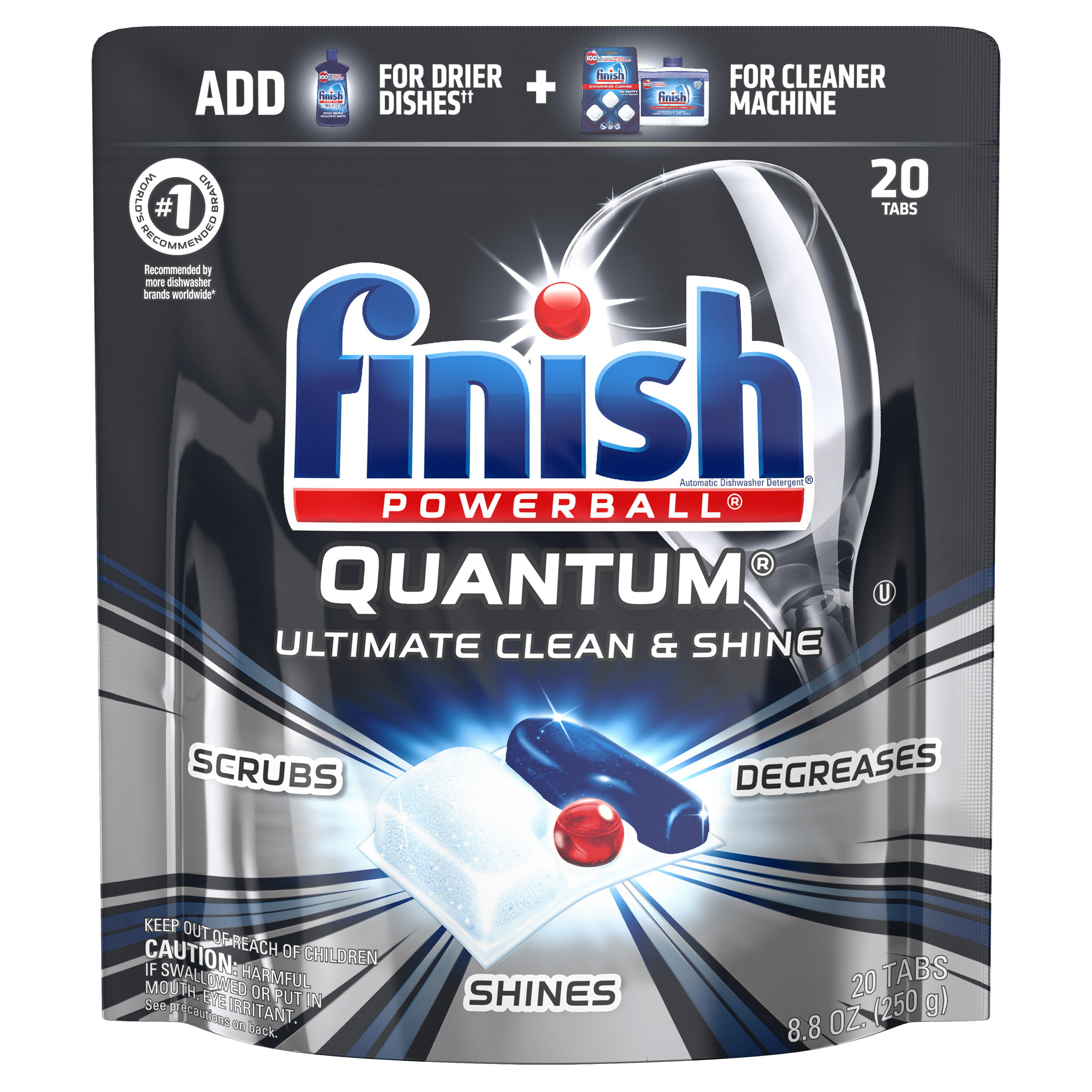 Finish Quantum, 20ct, Dishwasher Detergent Tabs, Ultimate Clean & Shine - Walmart.com