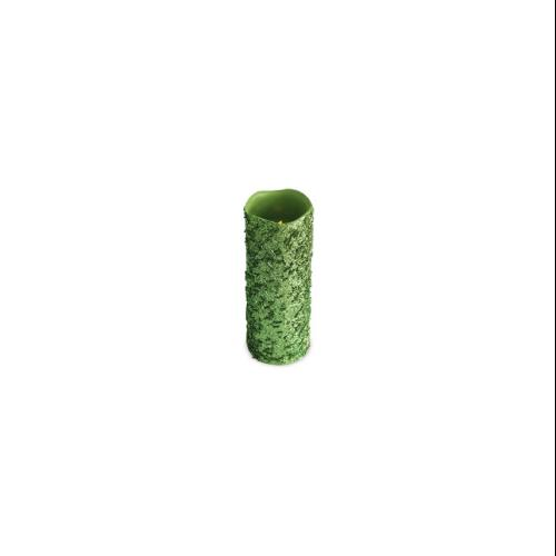 "Set of 4 Lime Green Glittered Flameless Wax LED Pillar Candles w/Timers 3"" x 8"""