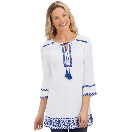 Miss Me Tunic (women's embroidered border keyhole tassel cotton peasant tunic top with 3/4 sleeves, xx-large, turquoise/white)