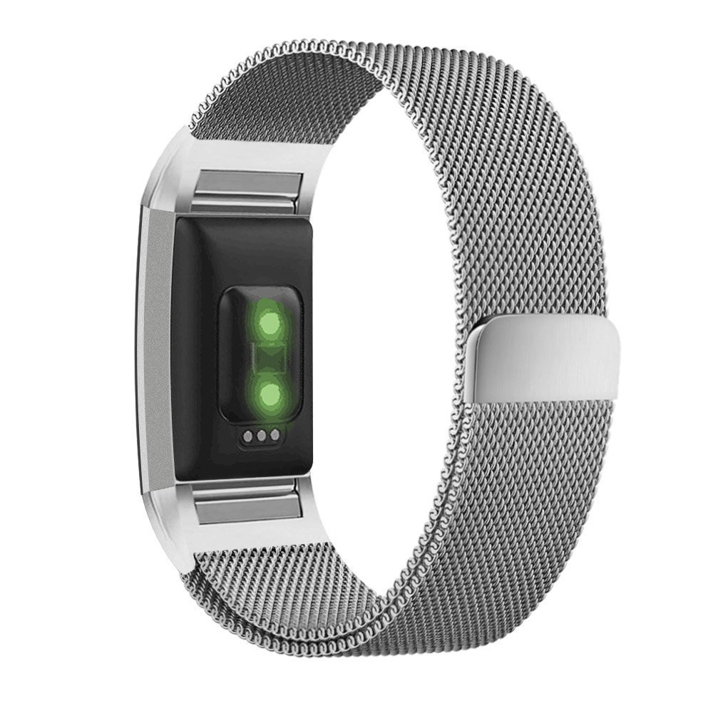 Moretek Stainless Steel Metal Bracelet with Unique Magnet Clasp Replacement Bands for Fitbit Charge 2 Large