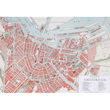 Plan Of Amsterdam Holland At The Turn Of The 20Th Century Map Is Edited In Spanish Language From Enciclopedia Ilustrada Segu Stretched Canvas - Ken Welsh  Design Pics (18 x 12)
