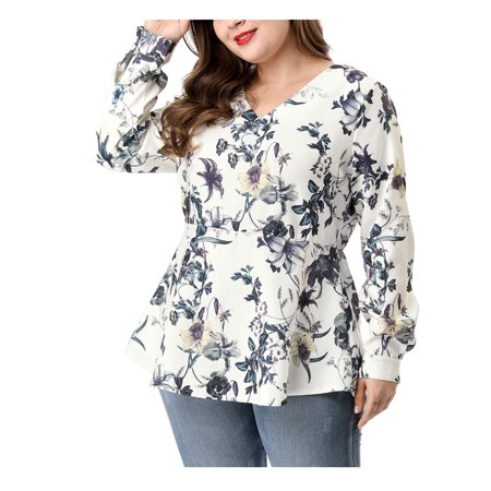 Unique Bargains Women's Plus Size V Neck Floral Peplum (Size 3X) White