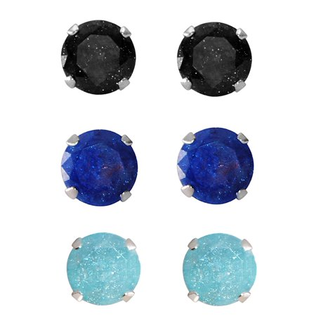 - Set of 3-pair Sterling Silver 8-mm Turquoise, Black, Bright Blue Ice Cubic Zirconia Stud Earrings
