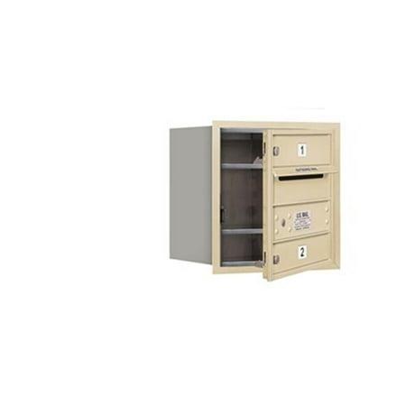 Two Single Door (Salsbury 3704S-02SFU 4 Door High Unit 16.50 Inches - Single Column - 2 Mb1 Doors - Sandstone - Front Loading - Usps Access )