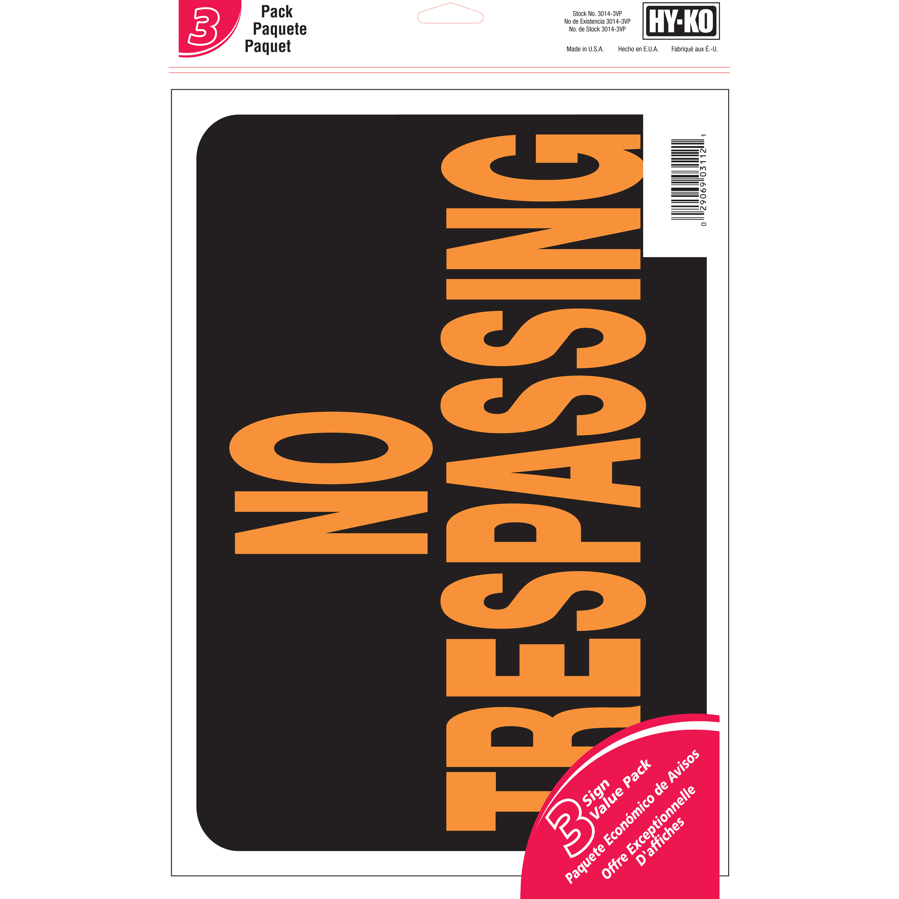 Hy-Ko 9 x 12 Plastic No Trespassing Property Sign Value Pack