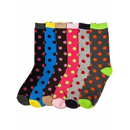 Colorful Polka Dot Print Womens 6 Pack Socks