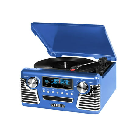 Victrola Retro Record Player Stereo with Bluetooth and USB Digital Encoding, Blue