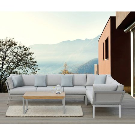 Ove Decors Conrad Aluminum 5 Piece Gray Patio Sectional Set