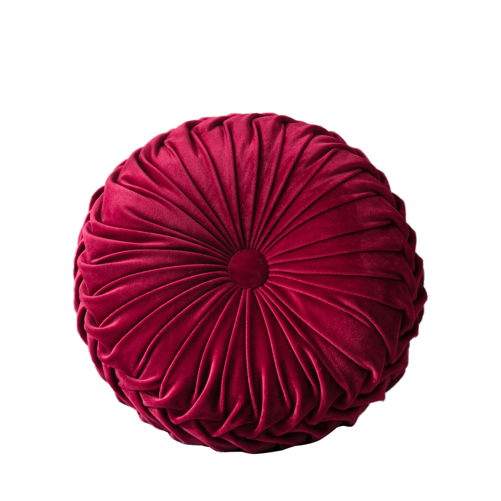 Elero Round Throw Pillow Handcrafted Chair Cushion Couch Pumpkin Velvet Floor Pillow for Couch Chair Bed Car Decoration Grey