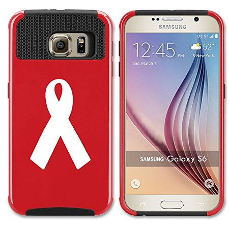 Red Awareness Ribbon (Samsung Galaxy S6 Shockproof Impact Hard Case Cover Cancer Awareness Ribbon (Red)