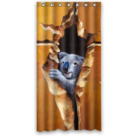 BSDHOME Funny Cute Koala Behind The Wall Shower Curtain Waterproof Polyester Fabric Bathroom Curtain 36x72 inch - image 1 of 1