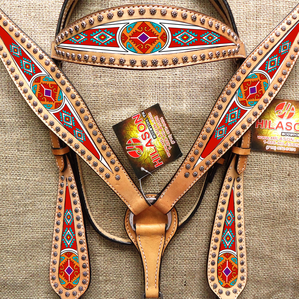 HILASON WESTERN AMERICAN LEATHER HEADSTALL BREAST COLLAR TAN AZTEC PAINTED
