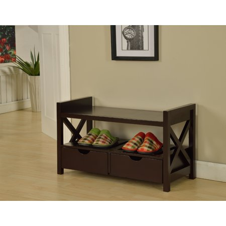 Tavia Cherry Wood Shoe Bench Display With Storage Shelves & Drawers