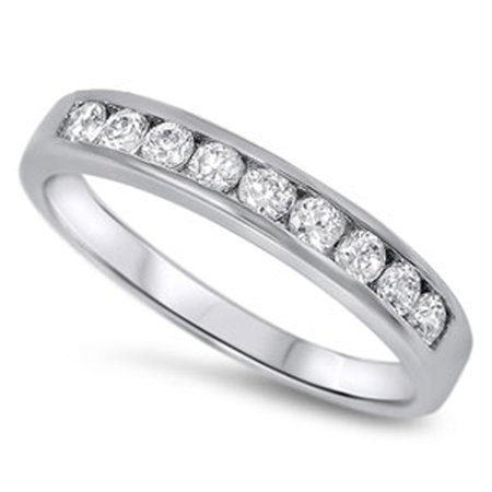 CHOOSE YOUR COLOR Clear CZ Polished Stacking Ring New .925 Sterling Silver Thumb Band