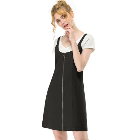 Women's Zip Front Short Pinafore Overall Dress (Wear Pinafore Dress)