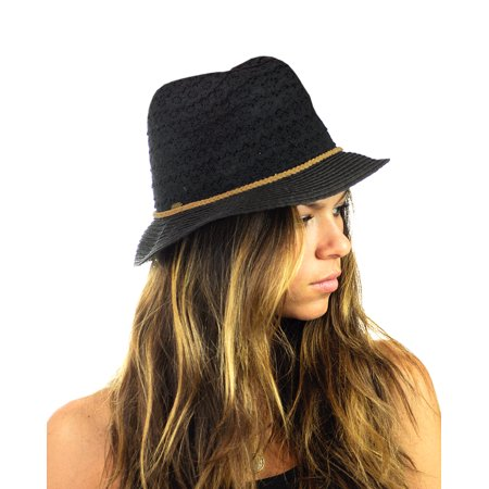 e356b5162 NYFASHION101 Braided Trim Spring Summer Cotton Lace Vented Fedora Hat -  Black - Walmart.com