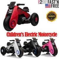 Children's Electric Motorcycle Ride on Cars with 3 Wheels Double Drive Trike Car Toy Gifts-White