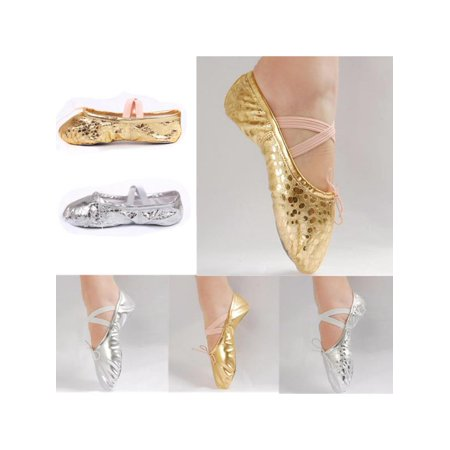 Kids Ballet Dance shoes Women PU Leather Gymnastics Ballet Dance Pointe Sequins Gold Silver Shoes