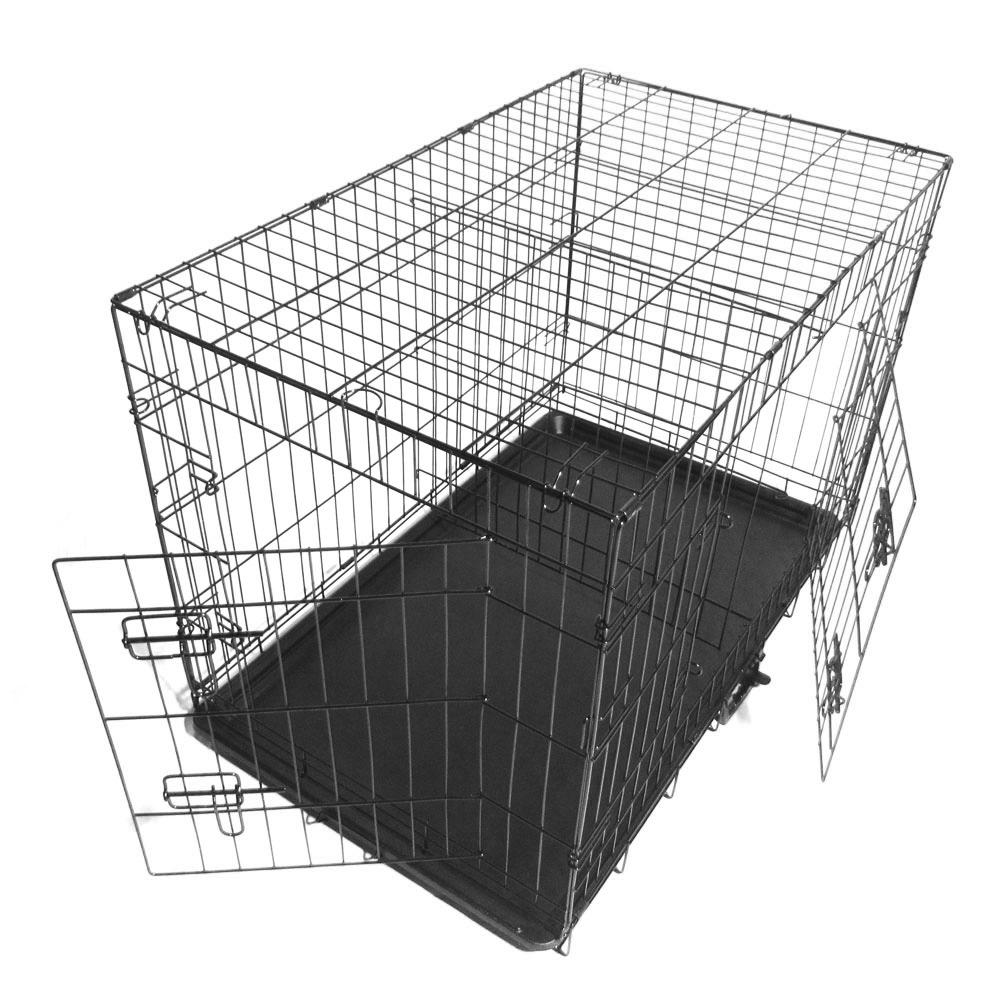 """Zimtown 24""""/30"""" Dog Kennel Folding Steel Crate Pet Cage Animal Cage 2 Door Indoor Outdoor"""