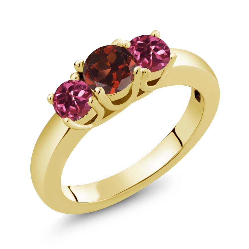 1.03 Ct Round Red Garnet Pink Tourmaline 18K Yellow Gold Ring by