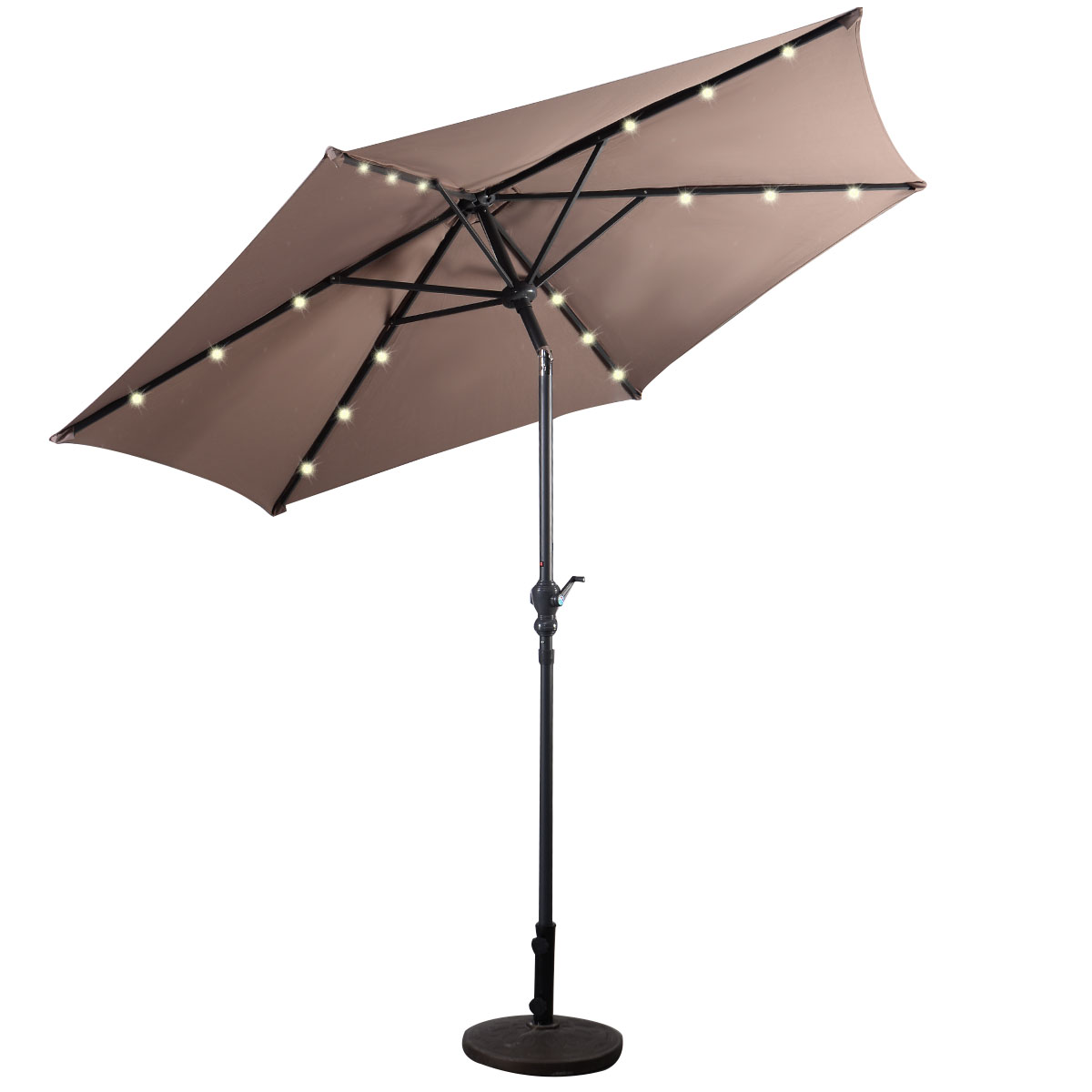 Costway 9ft Patio Solar Umbrella LED Patio Market Steel Tilt W/ Crank  Outdoor (Tan