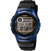Casio Men's Black Resin Strap Digital Sport Watch, Blue Accents W213-2AV