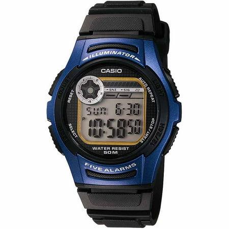 Men's Blue Digital Sport Watch, Black Resin Strap (Black Strap Sport Watch)