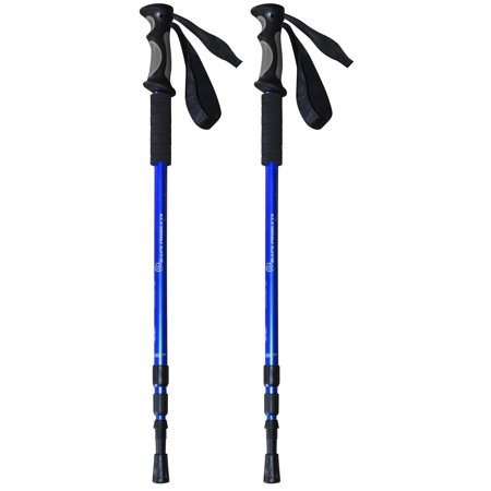 BAFX Products Anti Shock Hiking &#47 Walking &#47 Trekking Trail Poles Blue