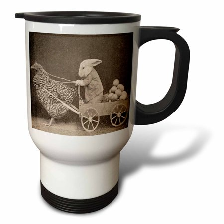 3dRose Victorian Photo Rooster Pulling Bunny, Travel Mug, 14oz, Stainless Steel - Photo Travel Mugs