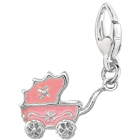 Women's Sterling Silver Pink Baby Carriage Clip-On Charm