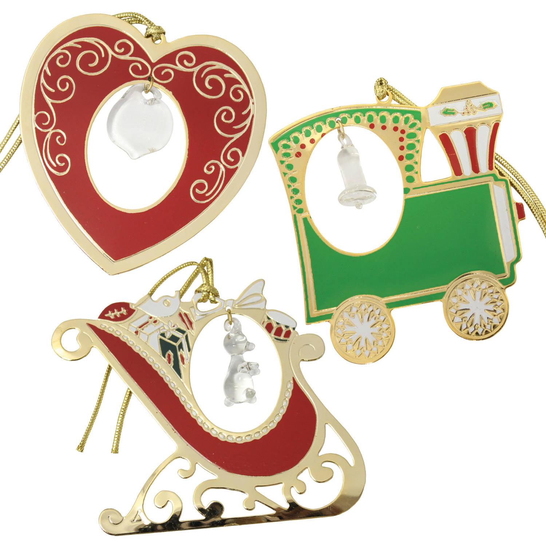 Gloria Duchin Crystal-Accented Christmas Ornaments, 3-Piece Set