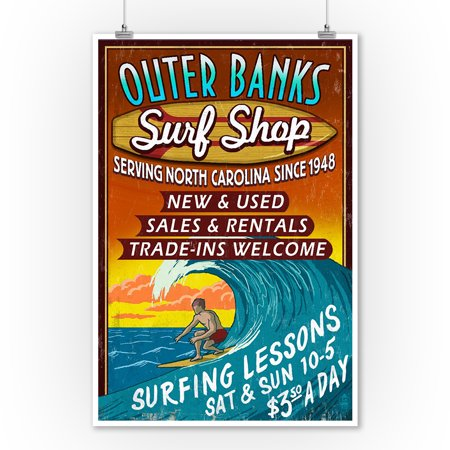 Outer Banks, North Carolina - Surf Shop Vintage Sign - Lantern Press Artwork (9x12 Art Print, Wall Decor Travel