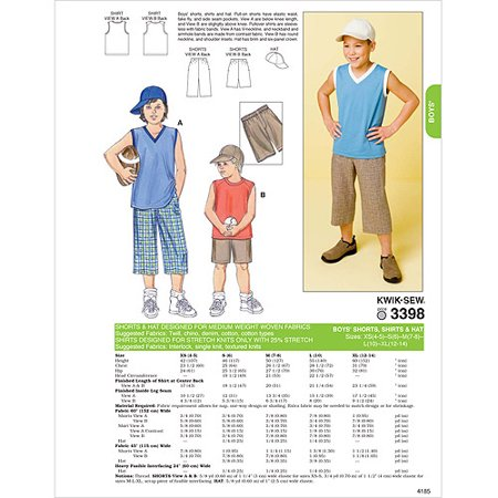 - Kwik Sew Pattern Shorts, Shirts and Hat, XS (4, 5), S (6), M (7, 8), L (10), XL (12)