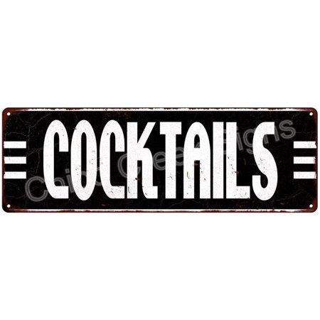 Art Deco Cocktails White on Black Vintage 50's Diner 6x18 Metal Sign Old Advertising Man Cave Game Room - 50s Diner Decor