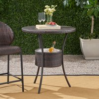 Elsenor Outdoor Round Wicker Table with Ice Pail, Multibrown