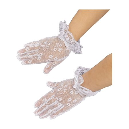 Girls White Lace Bow Accented Communion Flower Girl - Girls Lace Gloves