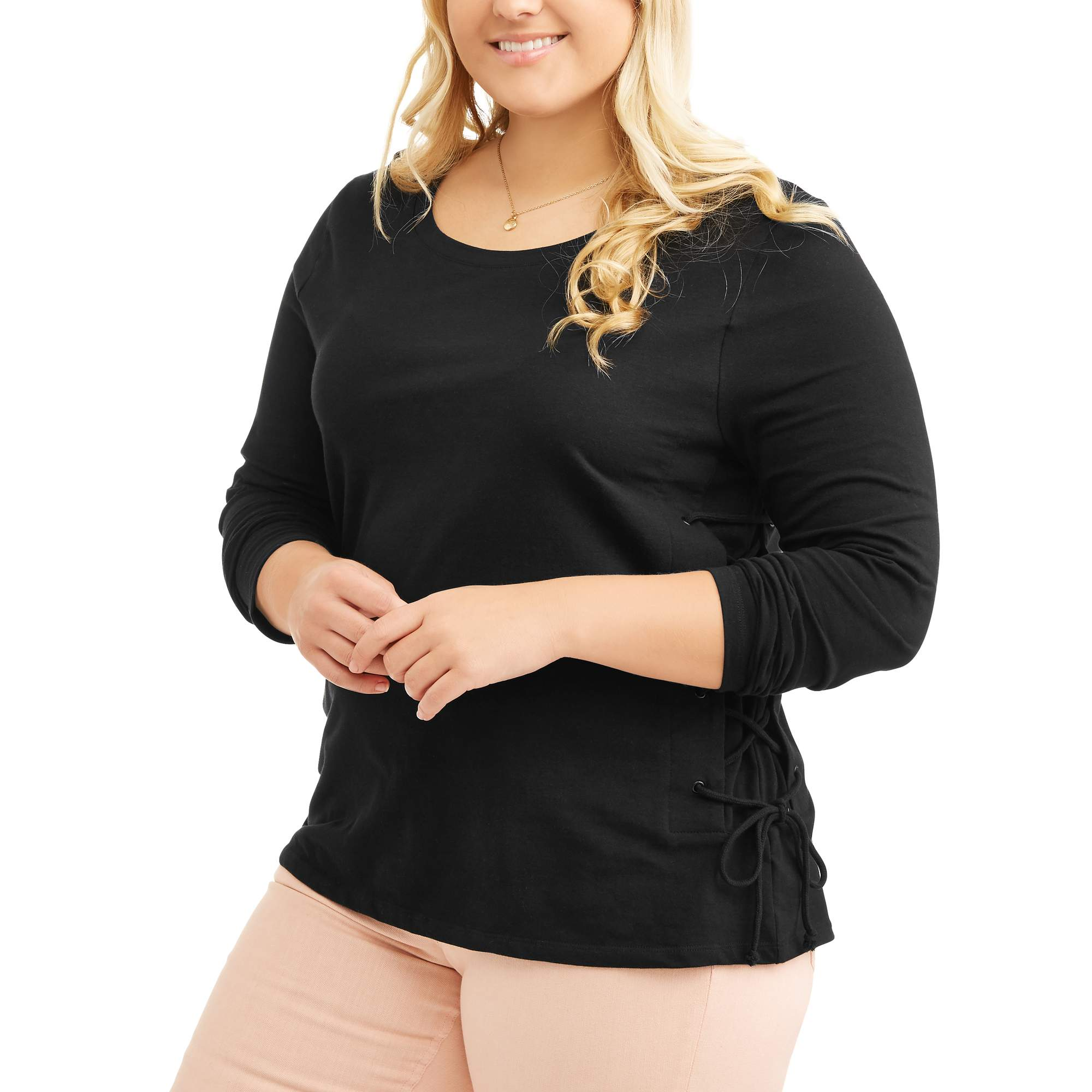Junior's Plus Long Sleeve Side Lace Up Top