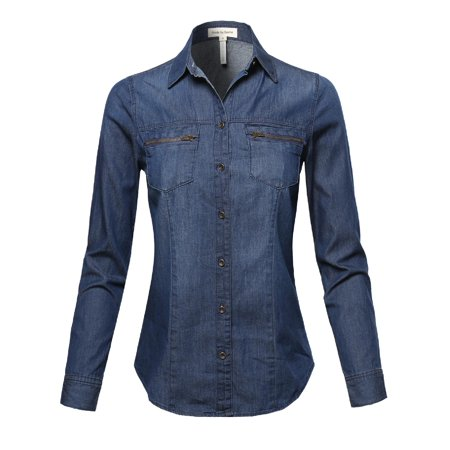 FashionOutfit Women's Basic Classic Button Closure Roll Up Sleeves Chest Zipper Pocket Denim Chambray
