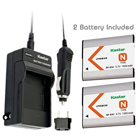 Kastar Battery (2-Pack) and Charger Kit for NP-BN1, BC-CSN work with Sony Cyber-shot DSC-QX10,DSC-QX100,DSC-T99,DSC-T110,DSC-TF1,DSC-TX5,TX7,TX9,DSC-TX10,DSC-TX20,DSC-TX30,DSC-TX55,DSC-TX66,DSC-TX100V (Sony Tx20 Accessories)