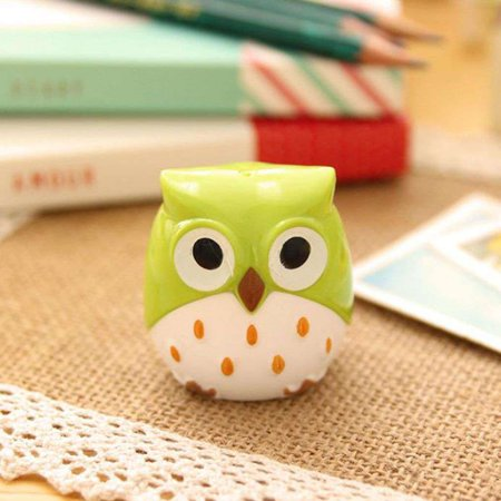 Cute pencil sharpener Cartoon Owl Shaped Two Holes Plastic Portable Lightweight Pencil Sharpener Color Random - Cute Pencil Sharpener