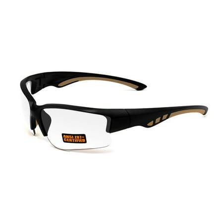 2017 Maxx Sunglasses SS3 Black Half Frame with Ansi Z87+ Clear Lens