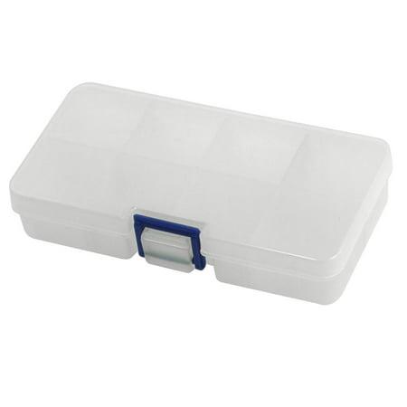 Unique Bargains Clear White 8 Compartments Nut Bolt  Components Storage Box 5.5