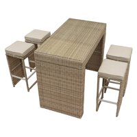 Pangea Home Oasis Wicker 5 Piece Bar Height Patio Dining Set