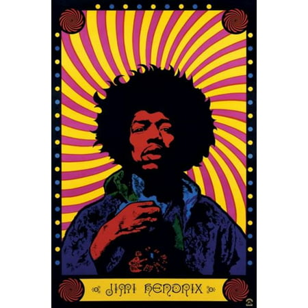 Jimi Hendrix Psychedelic Rock And Roll Electric Guitarist Singer Songwriter Music Poster 24X36